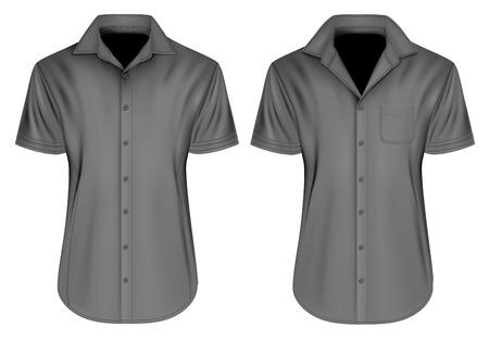 button down shirt: Mens short sleeved formal button down shirts. Fully editable handmade mesh, Vector illustration.