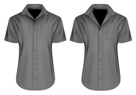Mens short sleeved formal button down shirts. Fully editable handmade mesh, Vector illustration.