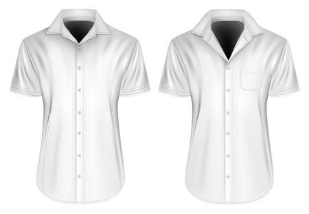 button down shirt: Mens short sleeved formal button down shirt. Fully editable handmade mesh, Vector illustration.