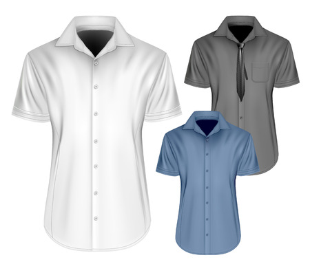 sleeved: Mens short sleeved formal button down shirts  with and without neckties. Fully editable handmade mesh, Vector illustration. Illustration