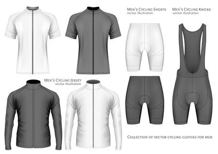 Collection de vêtements cyclistes pour hommes. Maillage artisanal entièrement éditable. Illustration vectorielle.