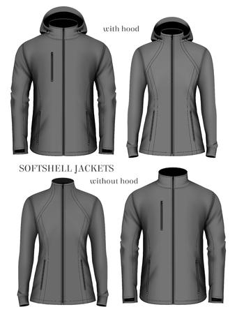 long sleeves: Set of womens and mens softshell jackets. Fully editable handmade mesh. Vector illustration. Illustration