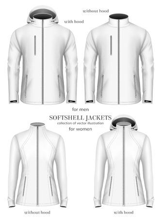 fully: Set of womens and mens softshell jackets. Fully editable handmade mesh. Vector illustration. Illustration