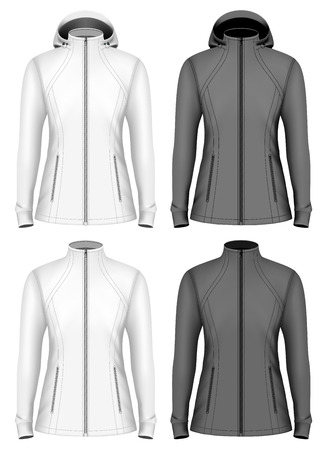 Softshell  jacket for lady with and without hood. Fully editable handmade mesh. Vector illustration.