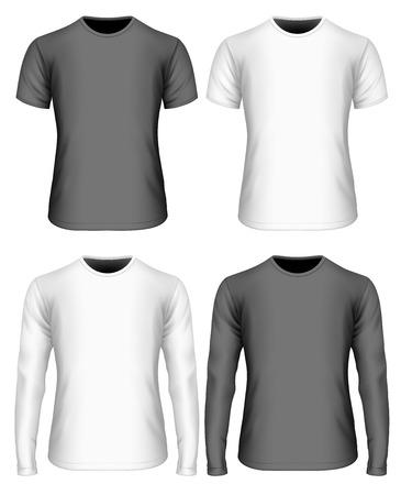 Heren t-shirt (vooraanzicht). Witte en zwarte varianten van t-shirt. T-shirt met lange mouwen en korte mouwen. Volledig bewerkbaar handgemaakt gaas. Vector illustratie.