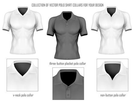 Colección de cuellos de las camisas de polo de vectores para su diseño. Ilustración del vector.