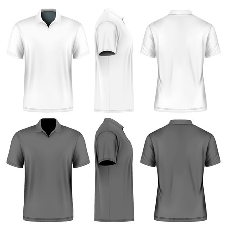 Men's slim-fitting short sleeve polo shirt. Front, back and side views of polo-shirt. White and black variants of clothes. Vector illustration. Fully editable handmade mesh. Çizim