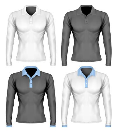 long: Three-button placket polo collar polo shirt. Long-sleeve variant of polo-shirt. Different polo collar variants. Vector illustration. Fully editable handmade mesh.