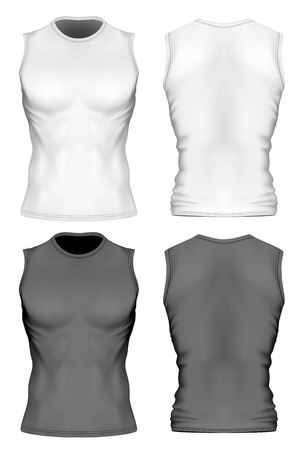 musculature: Sleeveless t-shirt with round neck on the mens sports figure (front and back views of t-shirt). Illustration