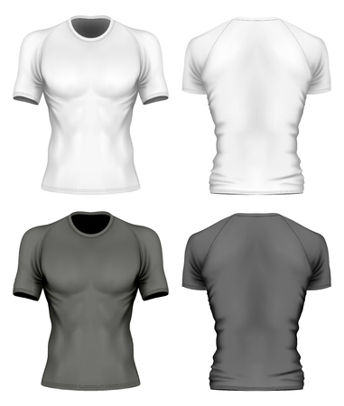 Short-sleeve t-shirt with round neck on the men's sports figure (front and back views of t-shirt). Vector illustration. Fully editable handmade mesh.