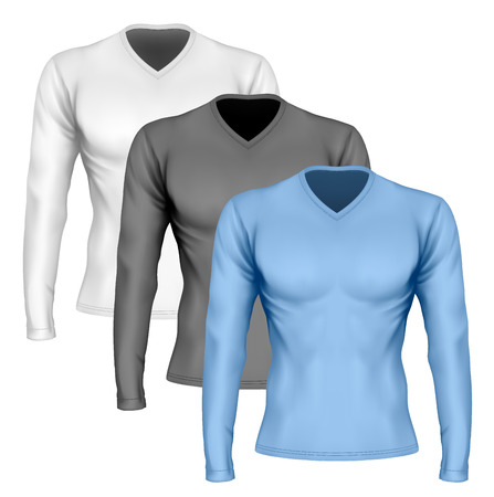 fully: Long-sleeve t-shirt with v-neck on the mens sports figure (front view of t-shirt). Vector illustration. Fully editable handmade mesh.