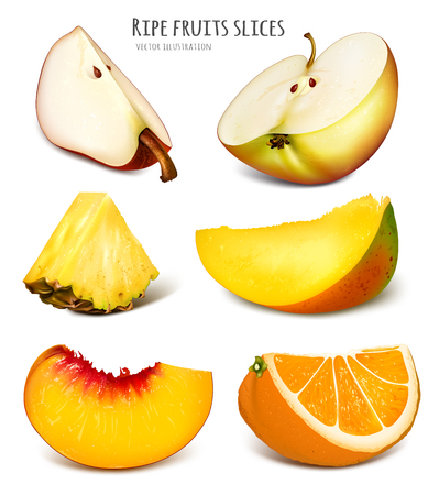 Slices of fresh fruits.