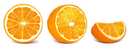 fully: Orange slices. Set of vector illustration of oranges. Fully editable handmade mesh. Illustration