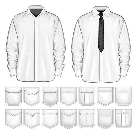 Vector collection of shirt and shirt pockets.