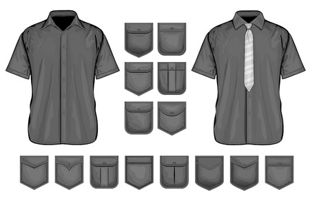flapping: Black shirt pockets design. Vector collection of short sleeve shirt and shirt pockets. Illustration