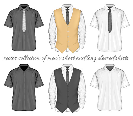 Formal shirts (button-down collar) with and without neckties and waistcoat. Short and long sleeve variants of shirt. Vector illustration.