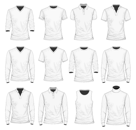 Collection of men's clothes. T-shirt, polo shirt and other clothes. Vector illustration