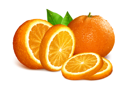 mesh: Oranges whole, cut and slices. Vector illustration of oranges. Fully editable handmade mesh. Illustration