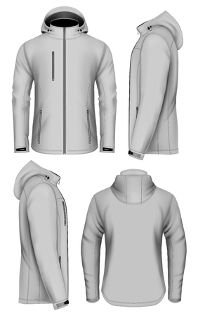 Men softshell jacket with hood. Vector illustration of front, back and side views.