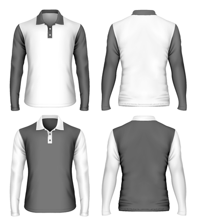 sleeve: Mens long sleeve polo shirt. Front and back views of polo-shirt. Vector illustration.