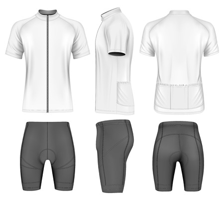 Cycling clothes for men: short sleeve cycling jersey and shorts. Vector illustration.