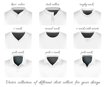front view: Different collars for your design. Vector illustration. Illustration