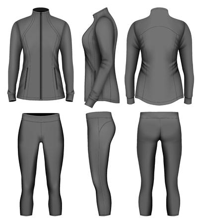 Vêtements de sport féminins pour course. Illustration vectorielle.
