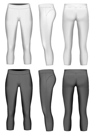 Women's 3/4 length compression leggings. Vector illustration. Leggings black and white variants.