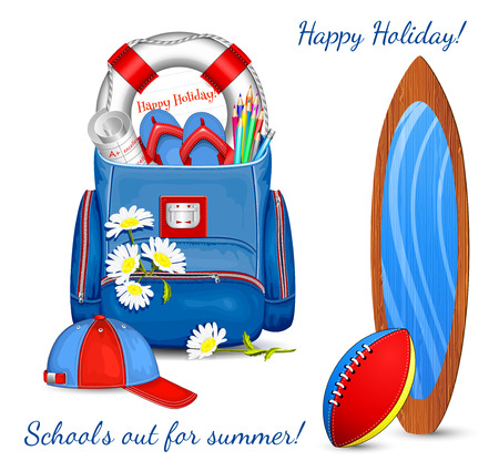 baseball stuff: School bag with traditional summer holidays objects and flowers. Vector illustration. Illustration