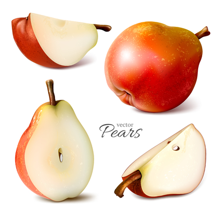 Collection of vector pears whole and slices. Vector illustration.