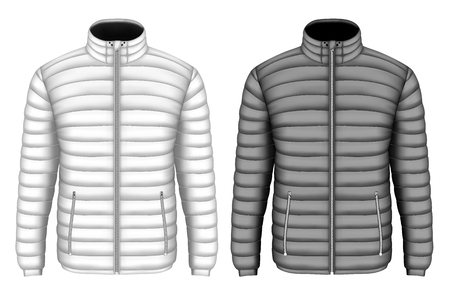Mens insulated down jacket with zip pockets. Vector illustration.