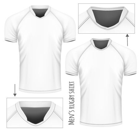 Rugby jersey with different collars. Vector illustration.