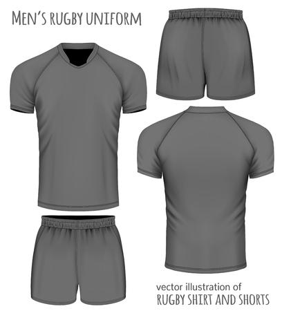 Rugby uniforme en negro: Jersey y pantalones cortos. Ilustración del vector.