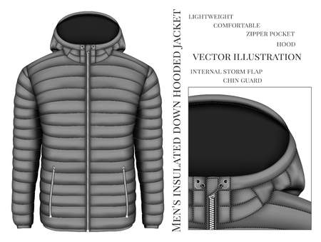 Mens hooded insulated down jacket with zip pockets. Vector illustration.