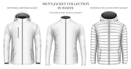 Mens jackets collection in white. Vector illustration.
