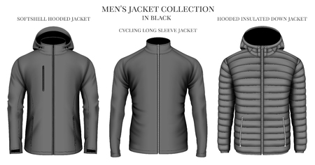 Mens jackets collection in black. Vector illustration