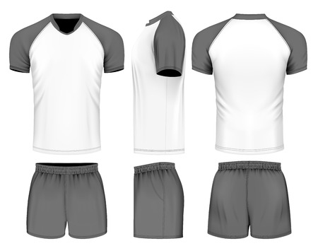 Rugby uniform jersey and shorts. Vector illustration. Иллюстрация