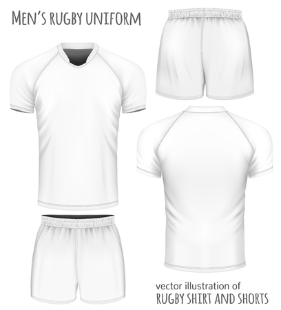 Rugby uniform: jersey and shorts. Vector illustration.