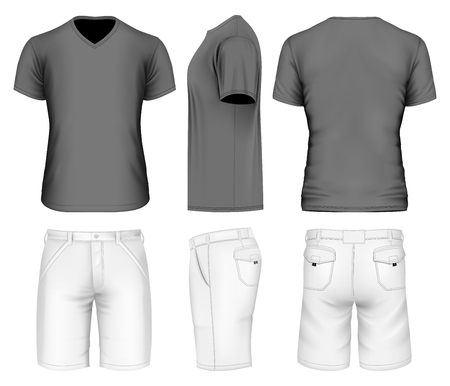 Mens bermuda shorts and v-neck t-shirt. Vector illustration.