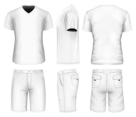 man: Mens bermuda shorts and v-neck t-shirt. Vector illustration.