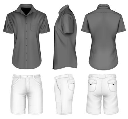 Mens bermuda shorts and black shirt. Vector illustration.