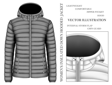 Womens black hooded insulated down jacket. Vector illustration.