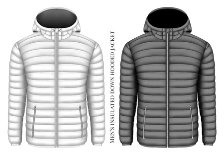 Men's hooded insulated down jacket with zip pockets. Vector illustration.