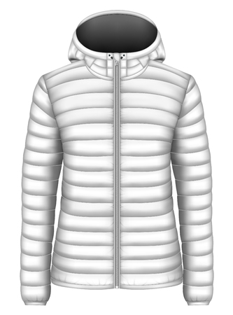 Womens hooded insulated down jacket. Vector illustration. Иллюстрация
