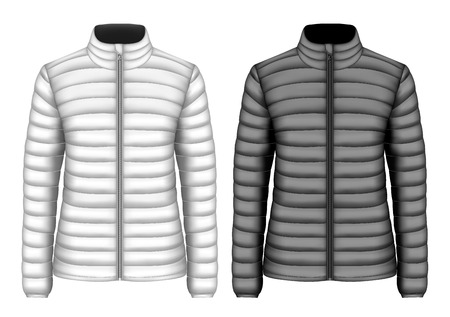 Womens insulated down jackets, black and white variants. Vector illustration. Illustration