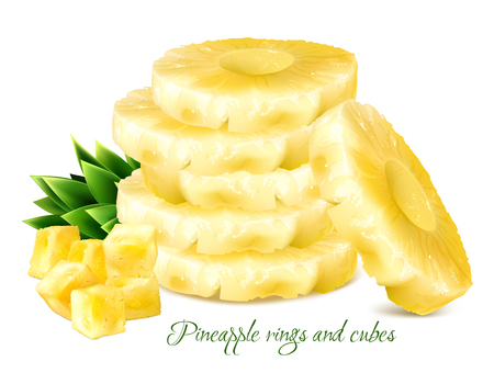 Pineapple rings and cubes. Vector illustration.