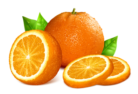 Oranges. Vector illustration of whole, cut and slice oranges.
