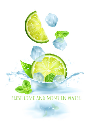 Fresh limes and mints in water.