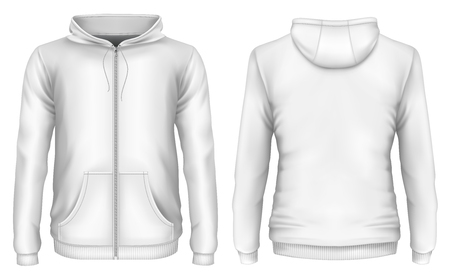 Front and back views of hooded sweatshirt. Vector illustration Illustration
