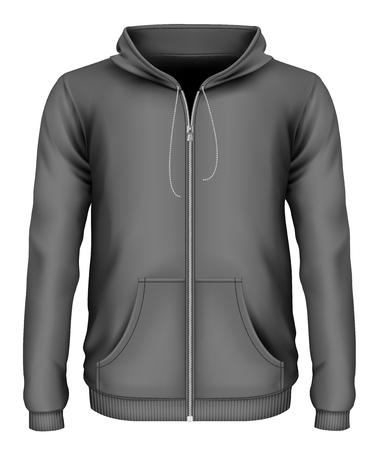 Mens zip-up hoodie. Front view of hooded sweatshirt. Vector illustration